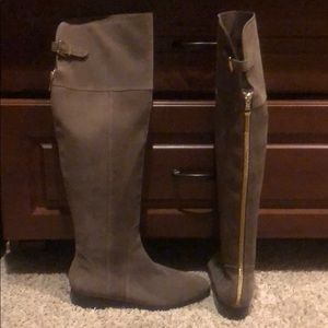 Charles David Grey Over the Knee Boots Suede 8